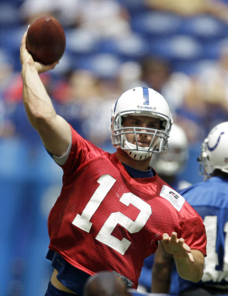 FILE- In tihs June 13, 2012, file photo, Indianapolis Colts quarterback Andrew Luck throws during NFL football practice, Wednesday, June 13, 2012, in Indianapolis. The Colts have signed Luck, the No. 1 overall pick in the draft. The quarterback's agent and uncle, Will Wilson, confirmed Thursday, July 19, 2012, that the deal had been completed. Terms were not immediately released. (AP Photo/Darron Cummings)