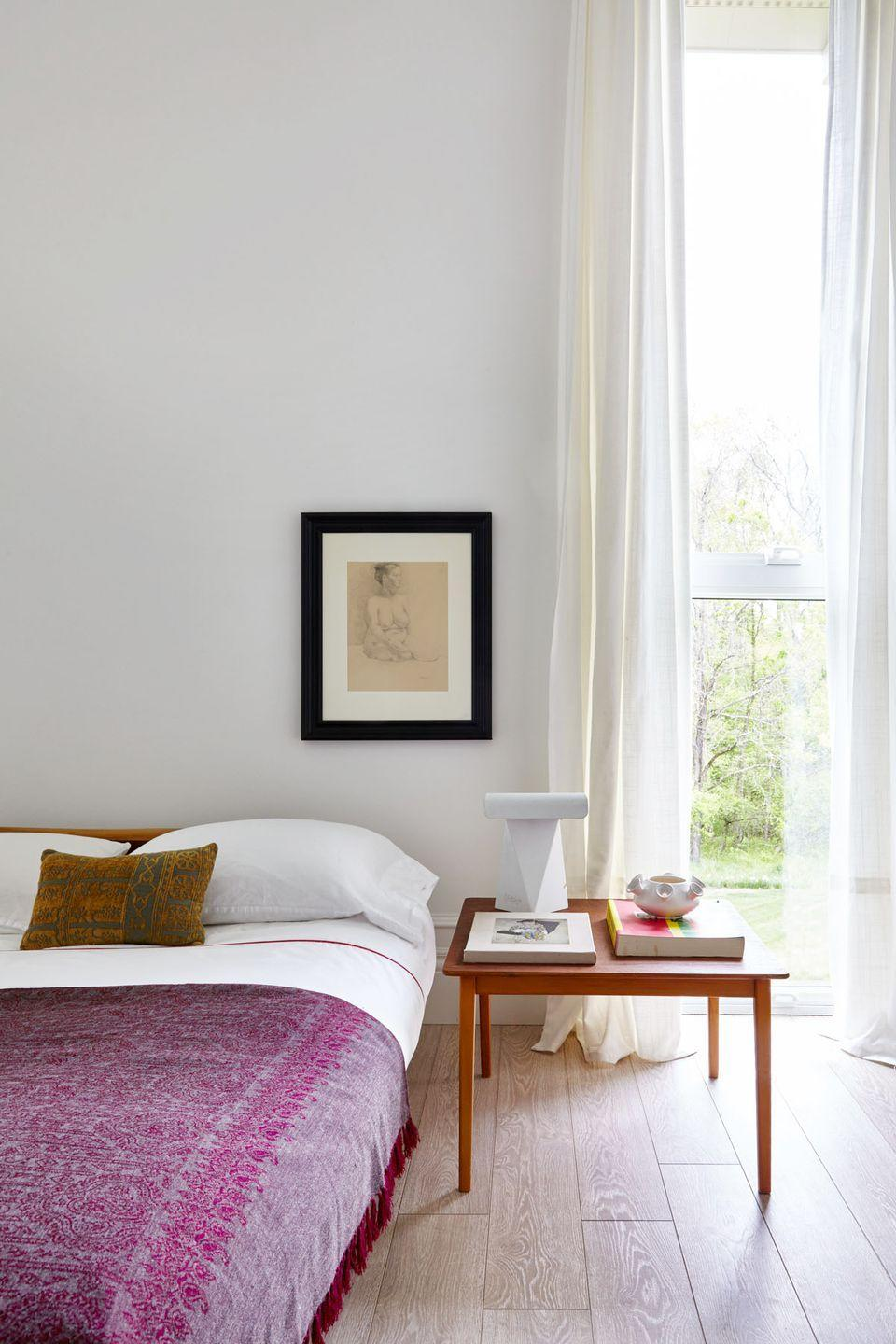 "<p>Think about how you want to feel in your bedroom and then take it from here. Here, Radhakrishnan was aiming for a ""breezy, comfortable,"" atmosphere. So he opted for white walls, curtains, and bedding, with a mix of midcentury and Japanese-accented pieces. </p>"