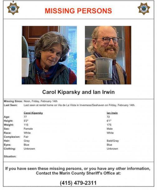 PHOTO: Authorities released photos of Palo Alto couple Carol Kiparsky and Ian Irwin who went missing on Feb. 14, 2020, in Marin County, Calif. (Marin County Sheriff's Office)