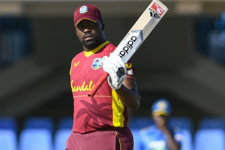 Ton up: Darren Bravo celebrates