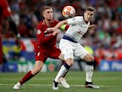 Liverpool's Jordan Henderson (left) and Tottenham Hotspur's Harry Winks (right) battle for the ball during the UEFA Champions League Final at the Wanda Metropolitano, Madrid. (Photo by Martin Rickett/PA Images via Getty Images)