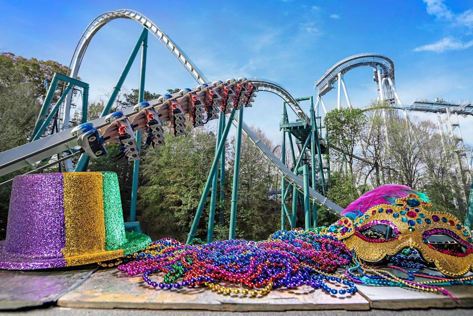 During Busch Gardens Williamsburg's Mardi Gras event, scheduled on weekends from Jan. 29 through Feb. 28, visitors will be able to ride the park's roller coasters, including Alpengeist.