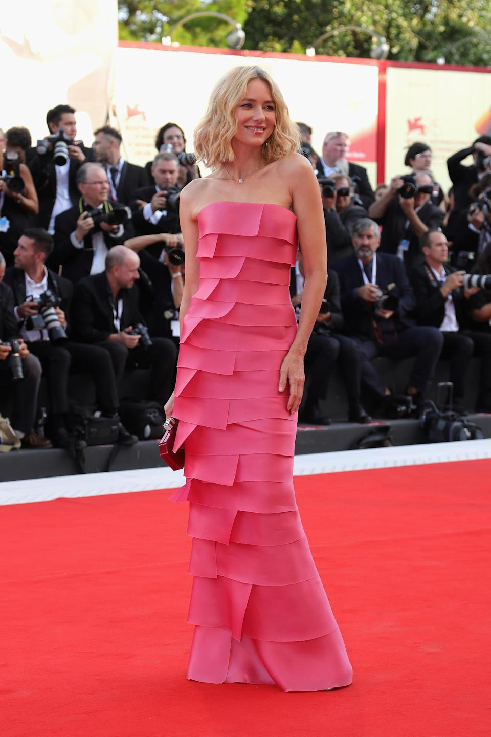 <p>The 'King Kong' star dressed in a layered, pink Armani dress. <em>[Photo: Getty]</em> </p>
