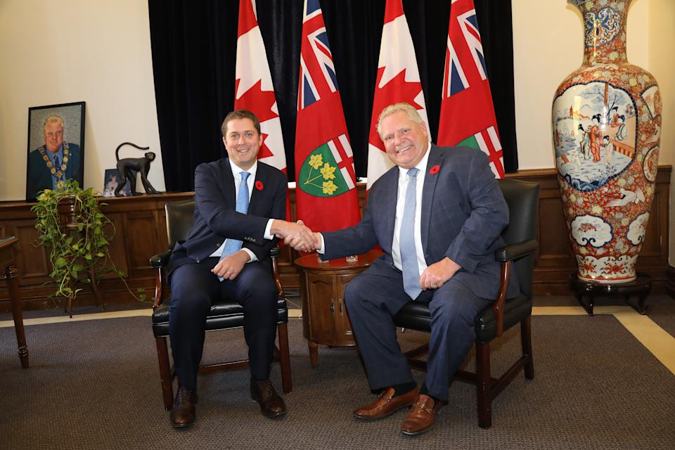 TORONTO, ON- Ontario Premier Doug Ford met with the leader of the Federal Official Opposition, Andrew Scheer at Queen's Park. (Rene Johnston/Toronto Star)        (Rene Johnston/Toronto Star via Getty Images)