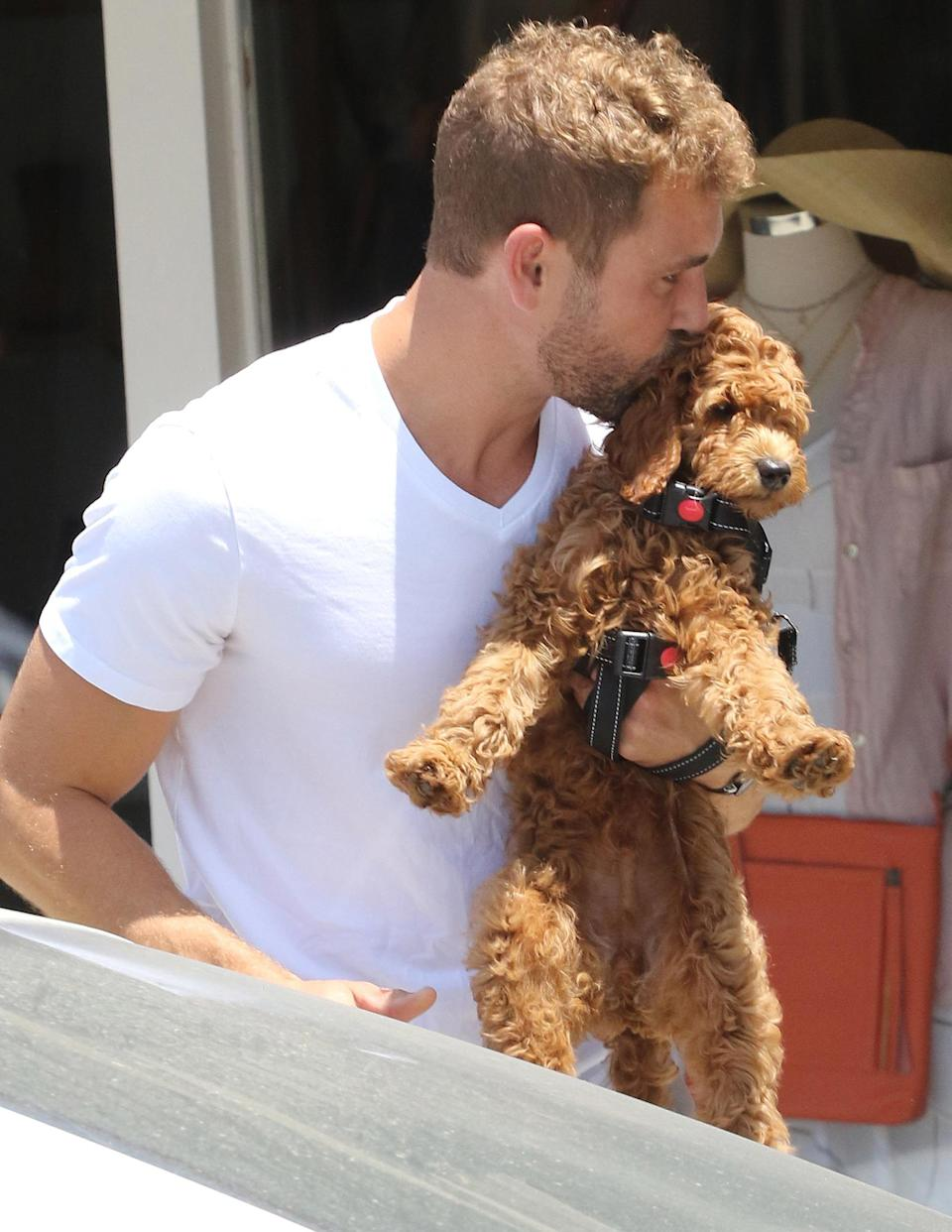 <p>Nick Viall smooches his adorable dog while out in L.A. on July 27.</p>