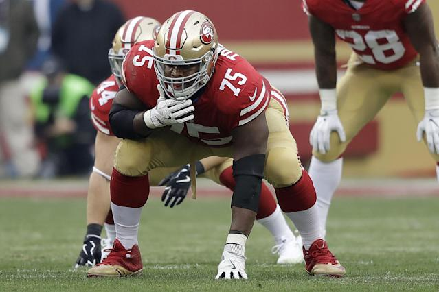 San Francisco 49ers offensive guard Laken Tomlinson (75) against the Jacksonville Jaguars during an NFL football game in Santa Clara, Calif., Sunday, Dec. 24, 2017. (AP Photo/Marcio Jose Sanchez)