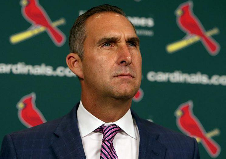 Cardinals General Manager John Mozeliak addresses the media after announcing changes to Mike Matheny's coaching staff. (AP)
