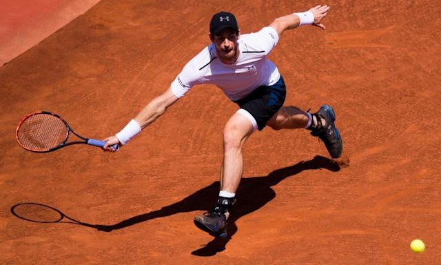 """<span class=""""element-image__caption"""">Andy Murray stretches for a forehand against Dominic Thiem of Austria en route to a three-set defeat in the semi-finals of the Barcelona Open.</span> <span class=""""element-image__credit"""">Photograph: Alex Caparros/Getty Images</span>"""