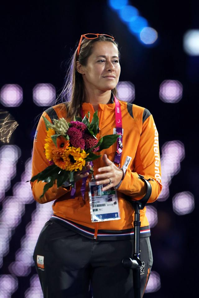 LONDON, ENGLAND - SEPTEMBER 09: Newly elected member of the IPC Council Elvira Stinissen of Netherlands looks on during the closing ceremony on day 11 of the London 2012 Paralympic Games at Olympic Stadium on September 9, 2012 in London, England. (Photo by Peter Macdiarmid/Getty Images)