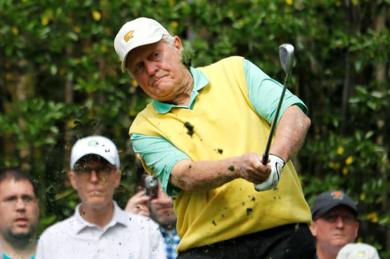FILE PHOTO: U.S. golf great Jack Nicklaus hits off the 3rd tee during the par 3 contest at the 2018 Masters golf tournament in Augusta