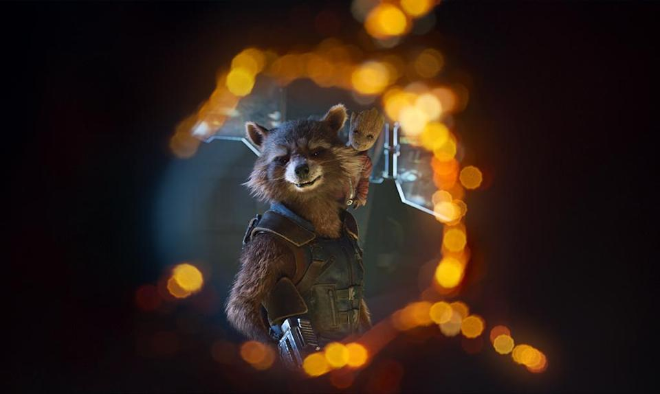 <p>The profane furball has a penchant for dangerous weapons and a soft spot for BFF Groot. (Photo: Marvel) </p>