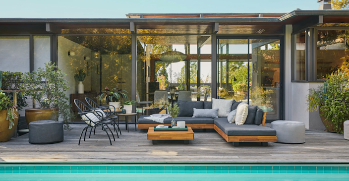 Article's Lubek Outdoor Sectional, complete with solid acacia wood base.