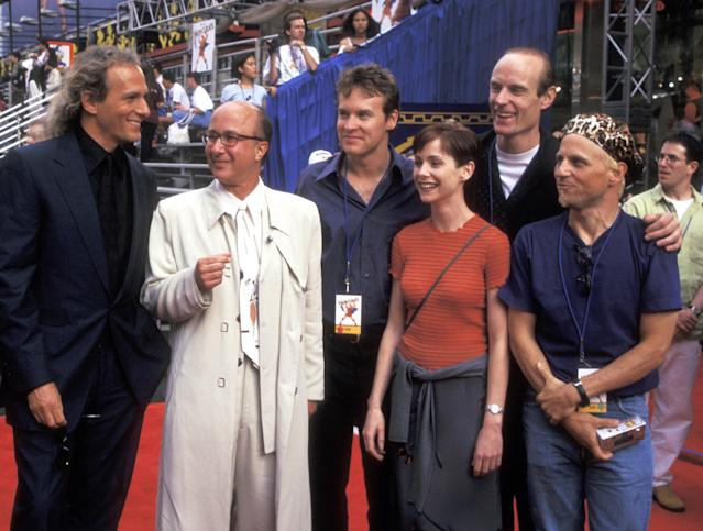 Michael Bolton, Paul Shaffer, Tate Donovan, Susan Egan, Matt Frewer and Bobcat Goldthwait at the premiere of <em>Hercules</em>. (Photo by Ron Galella/Ron Galella Collection via Getty Images)