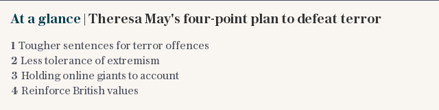 At a glance | Theresa Mays four-point plan to defeat terror