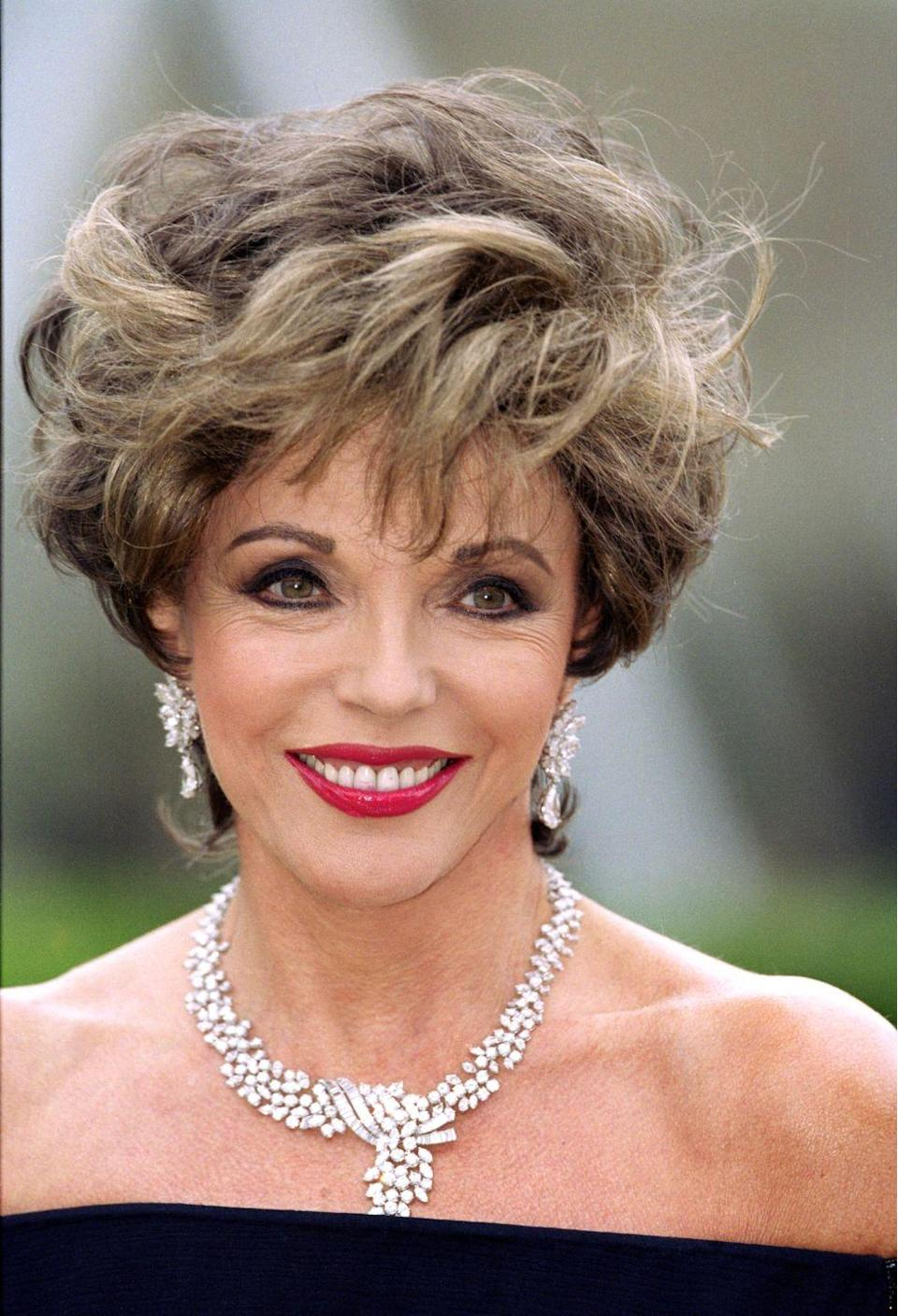 <p>Collins bought this sparkling necklace (with over 60 carats of brilliant, marquise and step-cut diamonds) in 1985 at the height of her fame as Alexis Carrington. She has since worn it to many glamorous events, including the Serpentine Gallery's 30th anniversary celebrations, and it is one of the most valuable pieces in the forthcoming auction at Bonhams, with an estimate of between £50,000 and £70,000. </p>