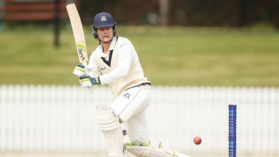 Will Pucovski is seen here in action for Victoria in the Sheffield Shield.