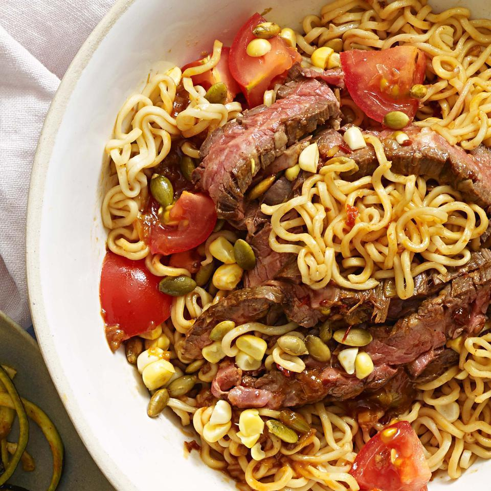 """<p>Ramen noodles are tossed with a chipotle-soy sauce in this healthy sesame noodle recipe. Be sure to rinse the noodles until they're cold, then give them a good shake in the colander until they're well drained. Are you a spiralizing pro? Swap 5 cups of raw zucchini, carrot or other veggie """"noodles"""" for the cooked pasta.</p>"""
