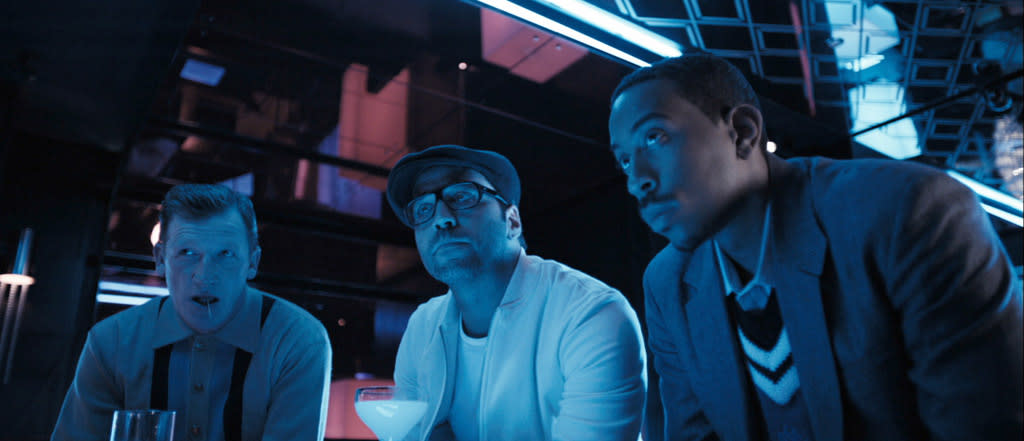"""<a href=""""http://movies.yahoo.com/movie/contributor/1807793636"""">Geoff Bell</a>, <a href=""""http://movies.yahoo.com/movie/contributor/1800022783"""">Jeremy Piven</a> and Chris 'Ludacris' Bridges in Warner Bros. Pictures' <a href=""""http://movies.yahoo.com/movie/1809921368/info"""">RocknRolla</a> - 2008"""