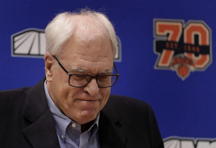 Phil Jackson was just resting his eyelids. (AP)