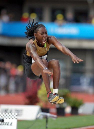 Brittney Reese competes in the women's long jump at the US Olympic Track and Field Trials on July 1. Reese won the women's long jump with the best leap in the world this year at 7.15m