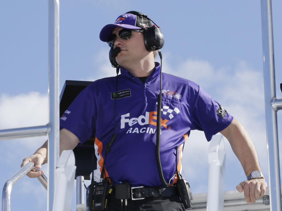 FILE - In this Nov. 16, 2019, file photo, crew chief Christopher Gabehart watches practice for a NASCAR Cup Series auto race at Homestead-Miami Speedway in Homestead, Fla. The pressure will be intense for crew chiefs in NASCAR's championship race. There is no practice or qualifying under COVID-19 protocols, so the team leaders must be on top of their game. (AP Photo/Terry Renna, File)