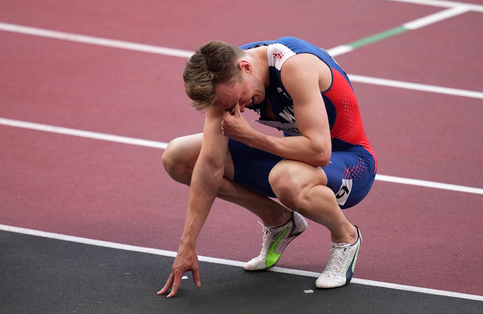 Karsten Warholm reacts after winning the gold medal (Joe Giddens/PA) (PA Wire)