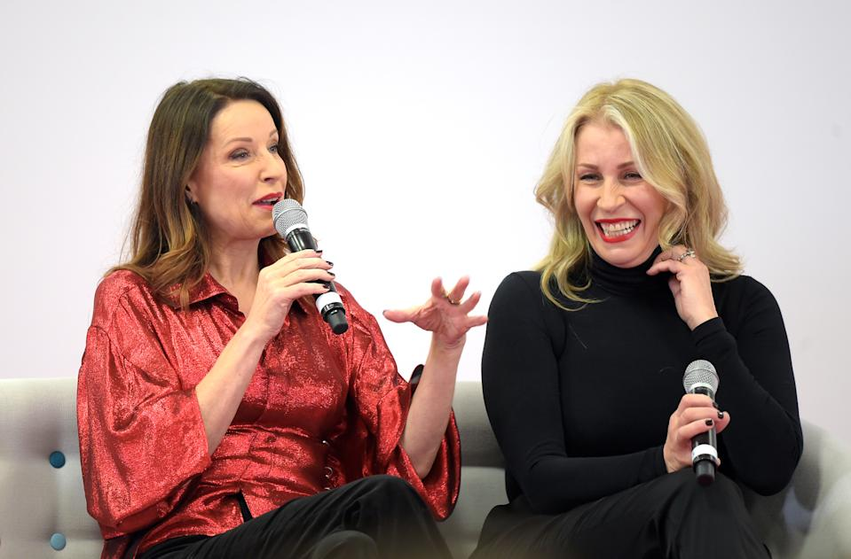 Keren Woodward (L) and Sara Dallin of Bananarama have been friends since they were four years old and lived together in the Sex Pistols studio when they were first starting out (Photo by David M. Benett/Dave Benett/Getty Images for World Of Wonder Productions)