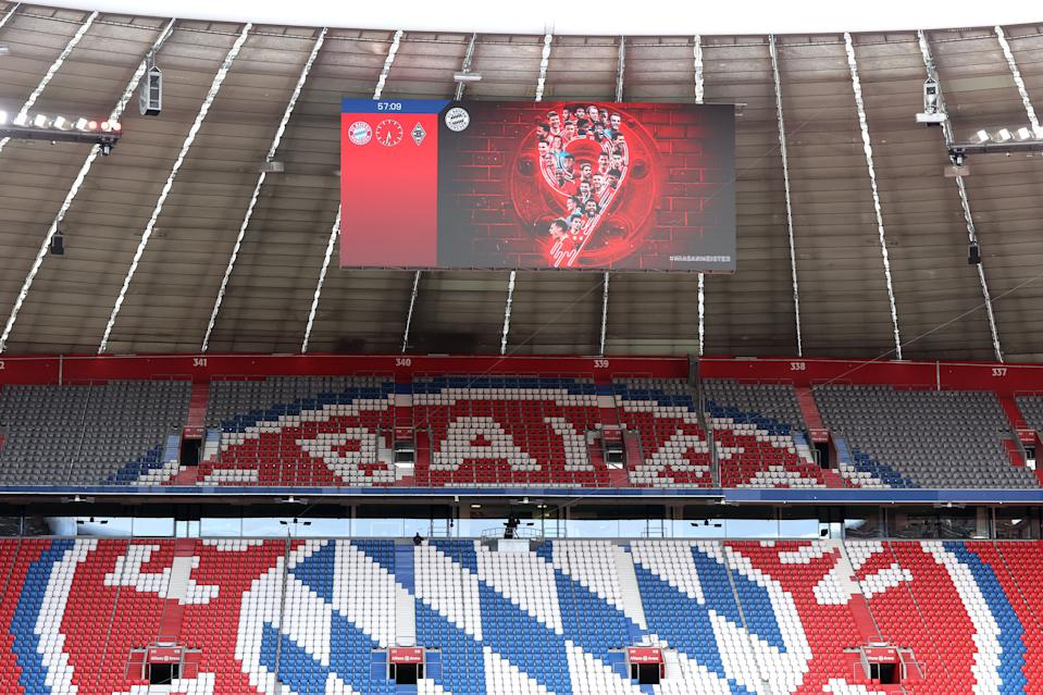 MUNICH, GERMANY - MAY 08: General view of the big screen inside the stadium displaying a message celebrating their ninth straight title victory prior to  the Bundesliga match between FC Bayern Muenchen and Borussia Moenchengladbach at Allianz Arena on May 08, 2021 in Munich, Germany. Sporting stadiums around Germany remain under strict restrictions due to the Coronavirus Pandemic as Government social distancing laws prohibit fans inside venues resulting in games being played behind closed doors. (Photo by Alexander Hassenstein/Getty Images)