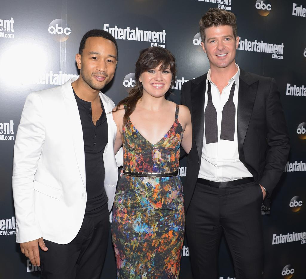 "John Legend, Kelly Clarkson, and Robin Thicke (""Duets"") attend the Entertainment Weekly and ABC Upfront VIP Party at Dream Downtown on May 15, 2012 in New York City."