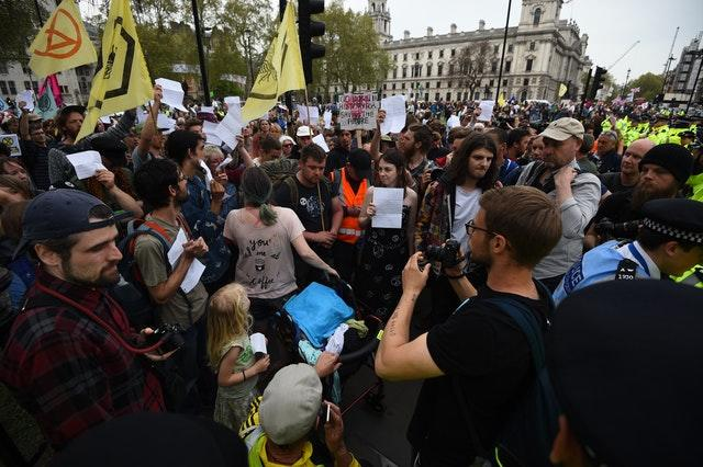 Extinction Rebellion protesters outside Parliament in Westminster