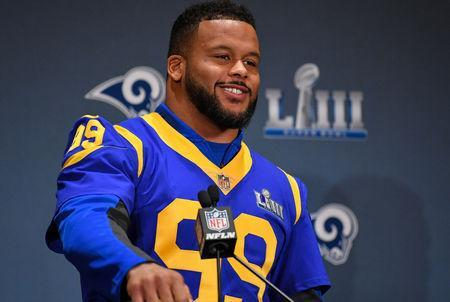 FILE PHOTO: Jan 31, 2019; Atlanta, GA, USA; Los Angeles Rams defensive end Aaron Donald (99) answers questions from the media during press interviews at Marriott Atlanta Buckhead. Mandatory Credit: Dale Zanine-USA TODAY Sports/File Photo