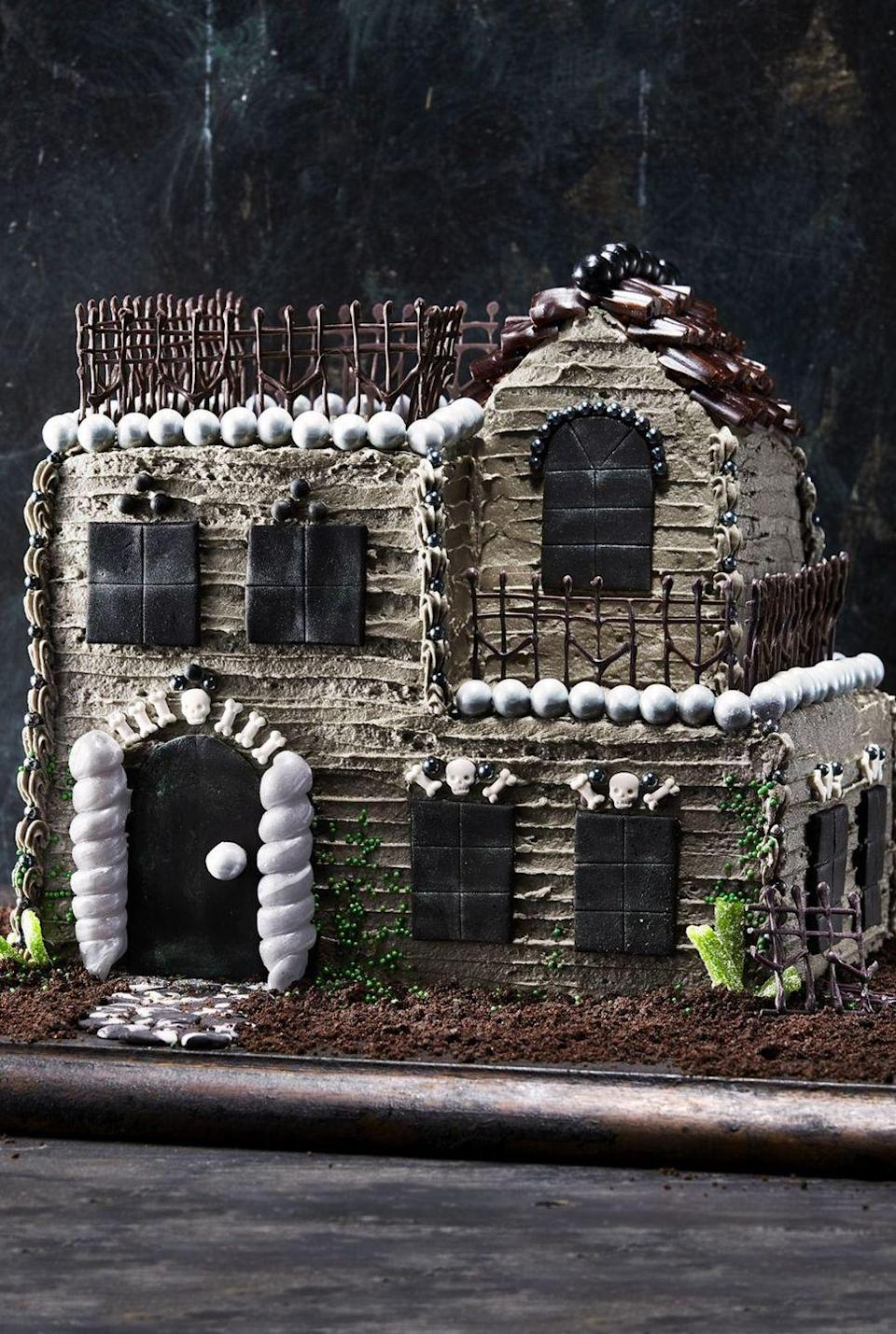 """<p>Sure, assembling this cake is a real baking challenge, but it's even more fun than trick-or-treating. Our suggestion? Do both this Halloween.</p><p><em><a href=""""https://www.countryliving.com/food-drinks/a28943697/towering-haunted-house-cake/"""" rel=""""nofollow noopener"""" target=""""_blank"""" data-ylk=""""slk:Get the recipe from Country Living »"""" class=""""link rapid-noclick-resp"""">Get the recipe from Country Living »</a></em></p>"""