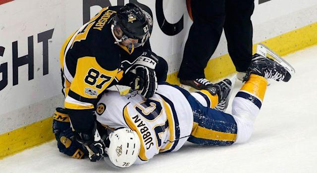 """<a class=""""link rapid-noclick-resp"""" href=""""/nhl/teams/pit/"""" data-ylk=""""slk:Pittsburgh Penguins"""">Pittsburgh Penguins</a>' <a class=""""link rapid-noclick-resp"""" href=""""/nhl/players/3737/"""" data-ylk=""""slk:Sidney Crosby"""">Sidney Crosby</a> (87) tangles with <a class=""""link rapid-noclick-resp"""" href=""""/nhl/teams/nas/"""" data-ylk=""""slk:Nashville Predators"""">Nashville Predators</a>' <a class=""""link rapid-noclick-resp"""" href=""""/nhl/players/4558/"""" data-ylk=""""slk:P.K. Subban"""">P.K. Subban</a> (76) during the first period in Game 5. (Gene J. Puskar/AP)"""