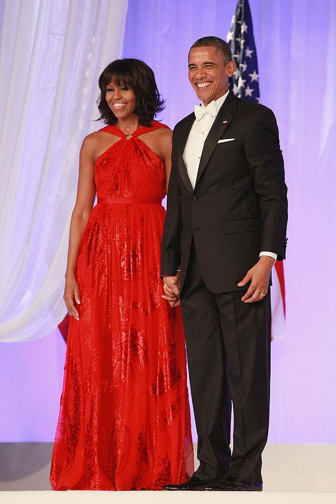 First Lady Michelle Obama wears a red Wu number to the Inaugural Ball on January 21, 2013. (Photo: Getty)