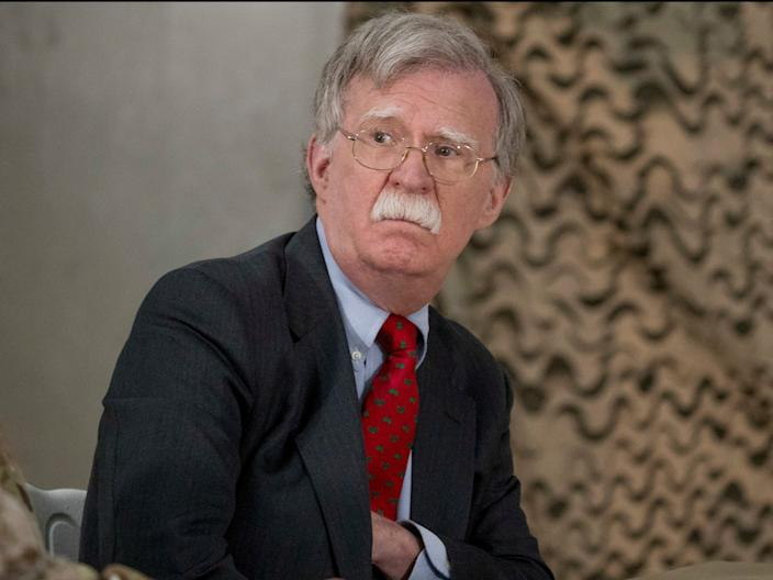 In this Dec. 26, 2018 file photo, National Security Adviser John Bolton attends a meeting with President Donald Trump and senior military leadership at Al Asad Air Base, Iraq.