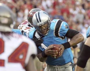 Cam Newton had a muted 300-yard passing game in a loss to the Buccaneers on Sunday. (Reuters)