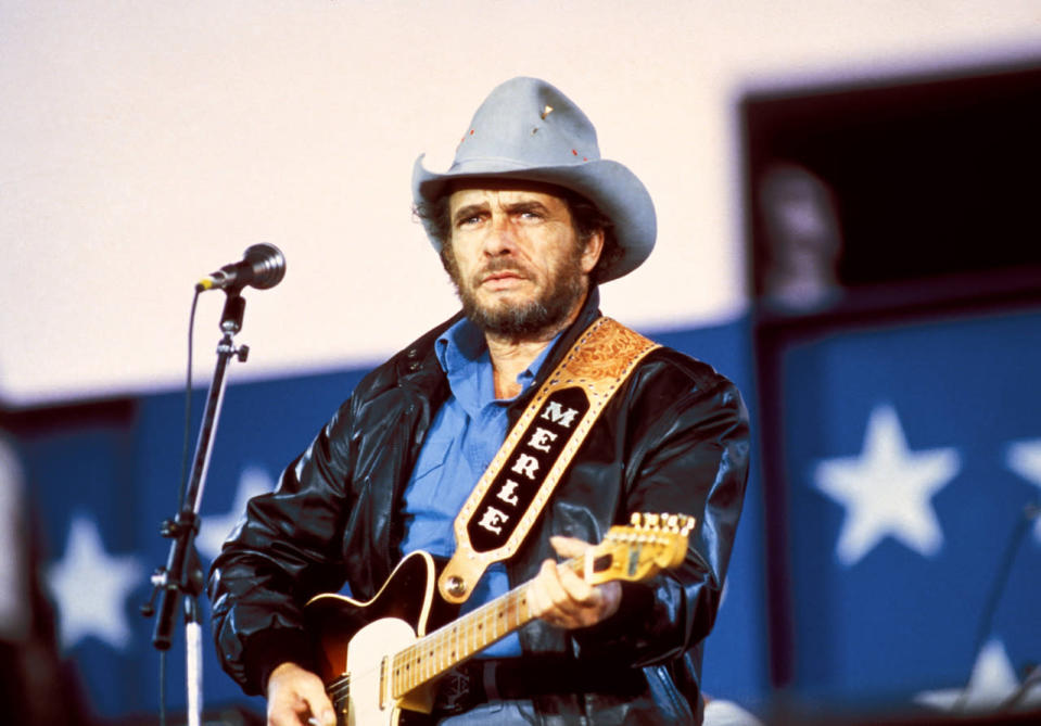 """Merle Haggard was a pioneer of outlaw country and Bakersfield sound, and was often called """"the Poet of the Common Man."""" He died of double pneumonia on his 79th birthday, on April 6. (Photo: Redferns)"""