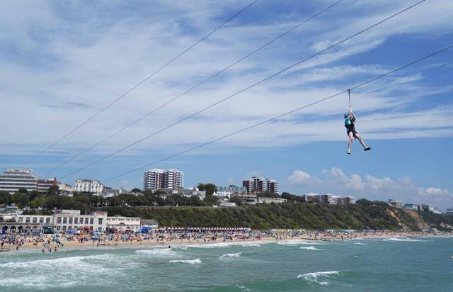 Zip-lining across the sea from Bournemouth pier