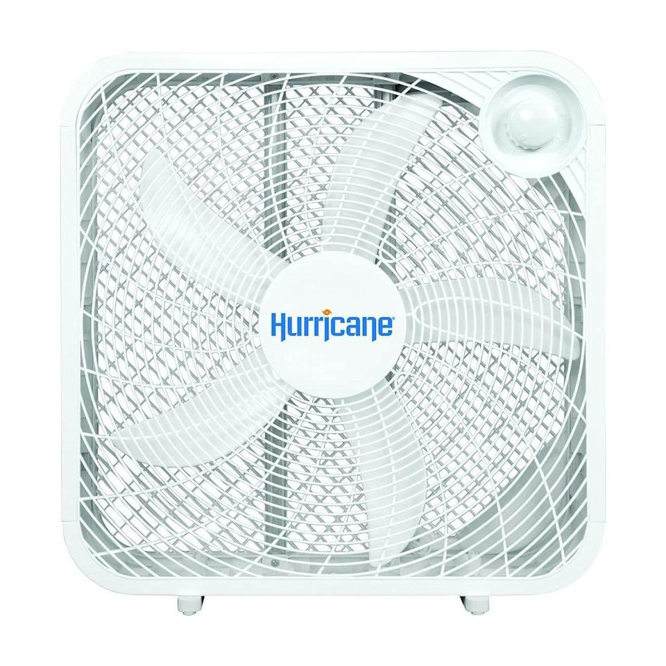 """<p><strong>Hurricane</strong></p><p>amazon.com</p><p><strong>$29.95</strong></p><p><a href=""""https://www.amazon.com/dp/B06XGSJ94B?tag=syn-yahoo-20&ascsubtag=%5Bartid%7C2141.g.27224793%5Bsrc%7Cyahoo-us"""" rel=""""nofollow noopener"""" target=""""_blank"""" data-ylk=""""slk:Shop Now"""" class=""""link rapid-noclick-resp"""">Shop Now</a></p><p>At 20 inches wide and three different speeds, this box fan is as powerful as it gets. The <strong>simple, sturdy design can cool an entire room</strong>, whether you put it in the window sill or on the floor. It's louder than its smaller counterparts, but if you're someone who needs a bit of white noise to drown out your environment <a href=""""https://www.prevention.com/health/a27021723/cbd-for-sleep/"""" rel=""""nofollow noopener"""" target=""""_blank"""" data-ylk=""""slk:while sleeping"""" class=""""link rapid-noclick-resp"""">while sleeping</a>, this is the fan for you.</p>"""