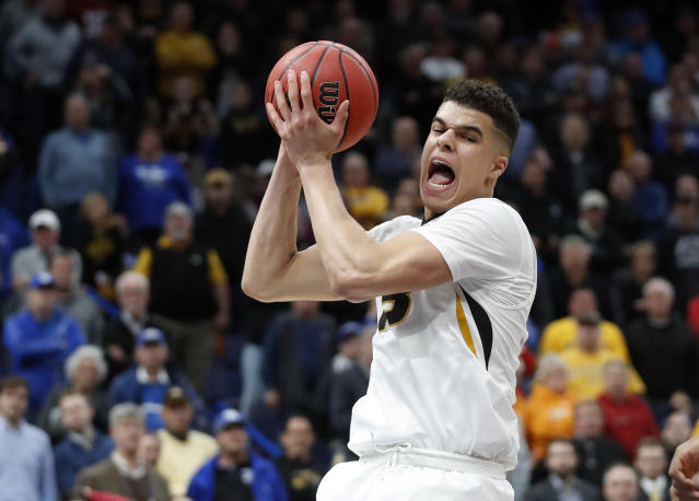 Missouri's Michael Porter Jr. pulls down a rebound during the second half in an NCAA college basketball game against Georgia at the Southeastern Conference tournament Thursday, March 8, 2018, in St. Louis. Georgia won 62-60. (AP)