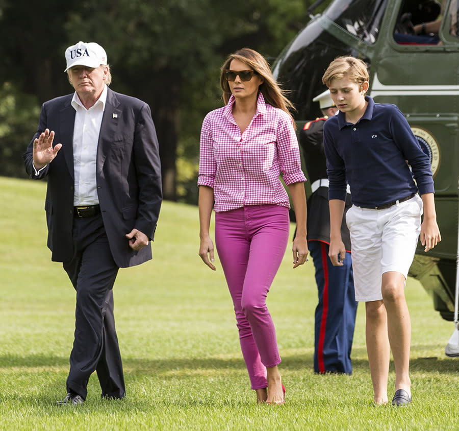 First lady Melania Trump steps out in J.Crew. (Photo: Getty Images)