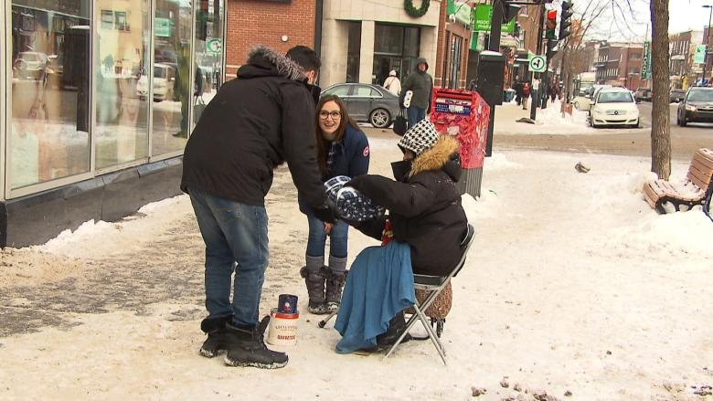 Montreal's homeless warm up with donated blankets