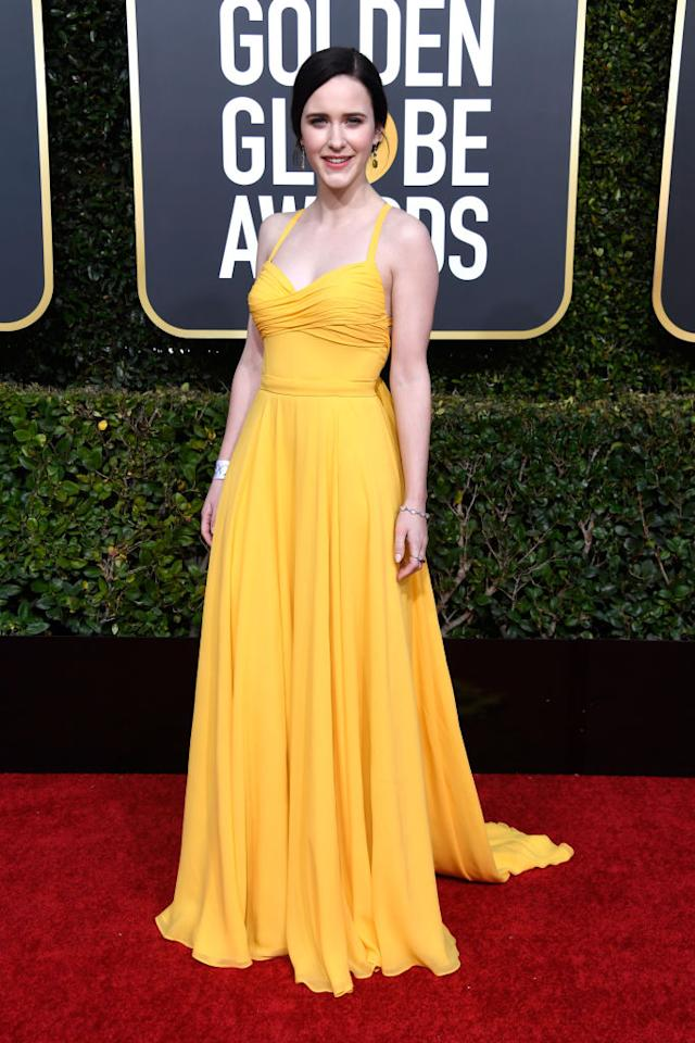 <p>Rachel Brosnahan attends the 76th Annual Golden Globe Awards at the Beverly Hilton Hotel in Beverly Hills, Calif., on Jan. 6, 2019. (Photo: Getty Images) </p>