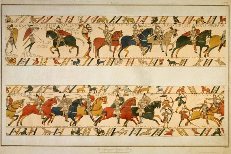 The tapestry shows William the Conqueror addressing his troops before battle (Getty Images)