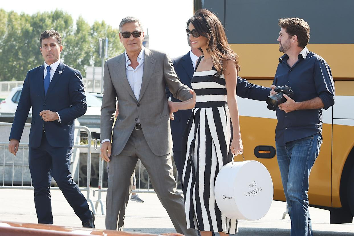 VENICE, ITALY - SEPTEMBER 26:  George Clooney and Amal Alamuddin arrive in Venice on September 26, 2014 in Venice, Italy. George Clooney is set to marry his lawyer fiancee Amal Alamuddin this weekend in Venice where they met.  (Photo by PVS/GC Images)