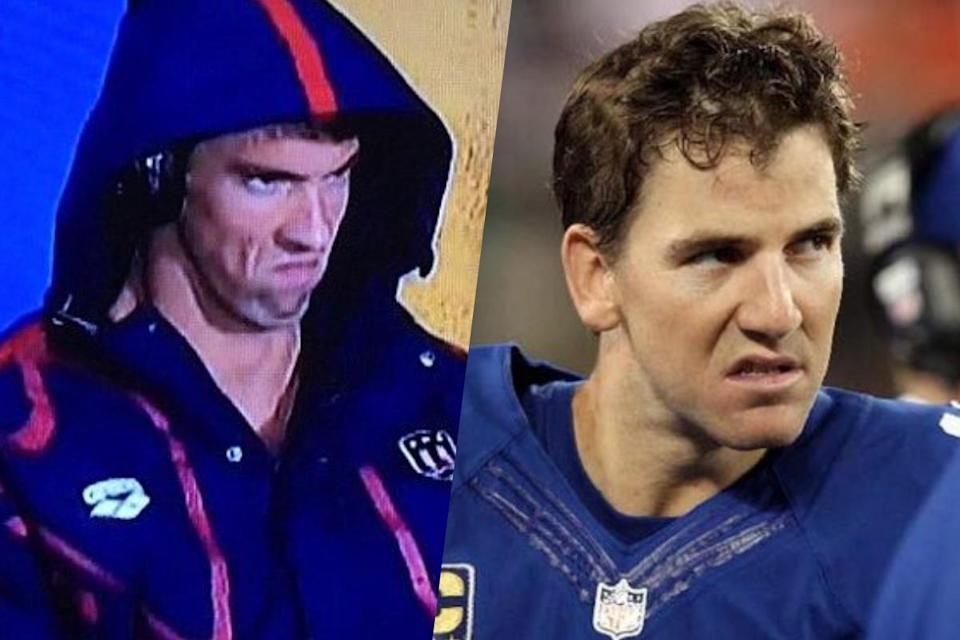 <p>American swimmer Michael Phelps (left) and New York Giants quarterback Eli Manning (right). </p>