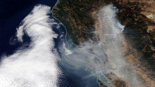 PHOTO: Smoke from the Camp Fire spreading over Northern California towards the Pacific Ocean, Nov. 16, 2018. (NASA Worldview/EPA via Shutterstock)