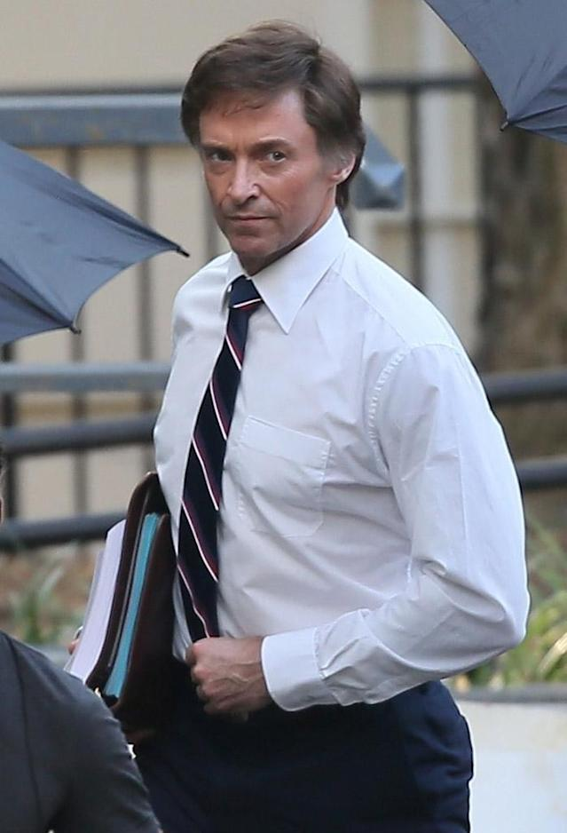 "Hugh Jackman as Senator Gary Hart in ""The Front Runner,"" on set in Atlanta (Photo: Backgrid)"