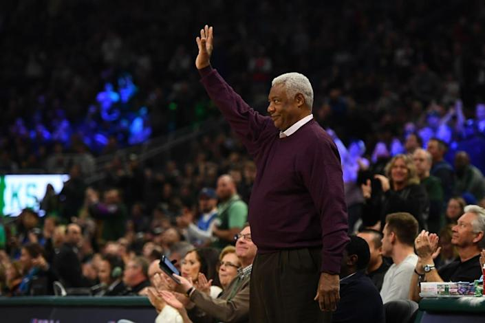 """<div class=""""inline-image__caption""""><p>Former NBA player Oscar Robertson waves to the crowd during the first half of a game between the Milwaukee Bucks and the Philadelphia 76ers at Fiserv Forum on February 22, 2020 in Milwaukee, Wisconsin.</p></div> <div class=""""inline-image__credit"""">Stacy Revere/Getty</div>"""