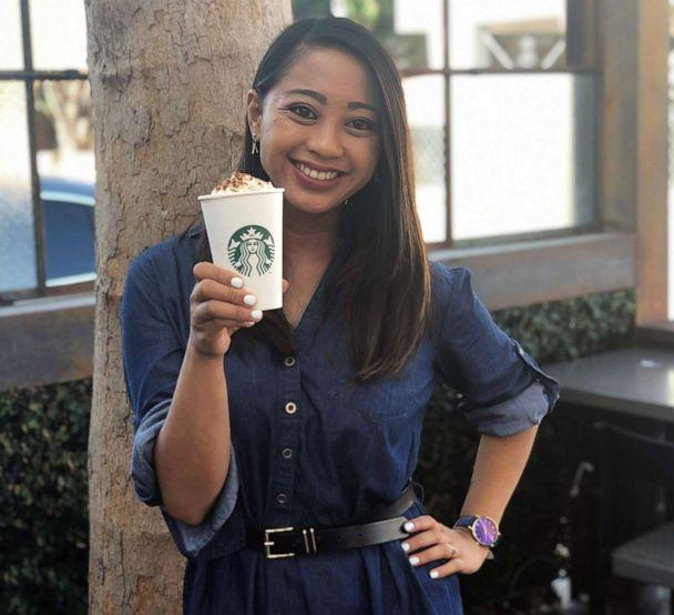 PHOTO: ABC News Fellow Angeline Bernabe holds a Pumpkin Spice Latte at a Starbucks location on Melrose Avenue in Los Angeles. (Angeline Bernabe/ABC)